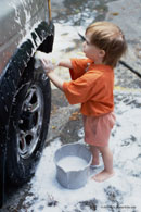 Child washing car; Actual size=130 pixels wide